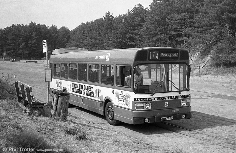 763 (JTH 763P), a Leyland National B52F at Pembrey Country Park.