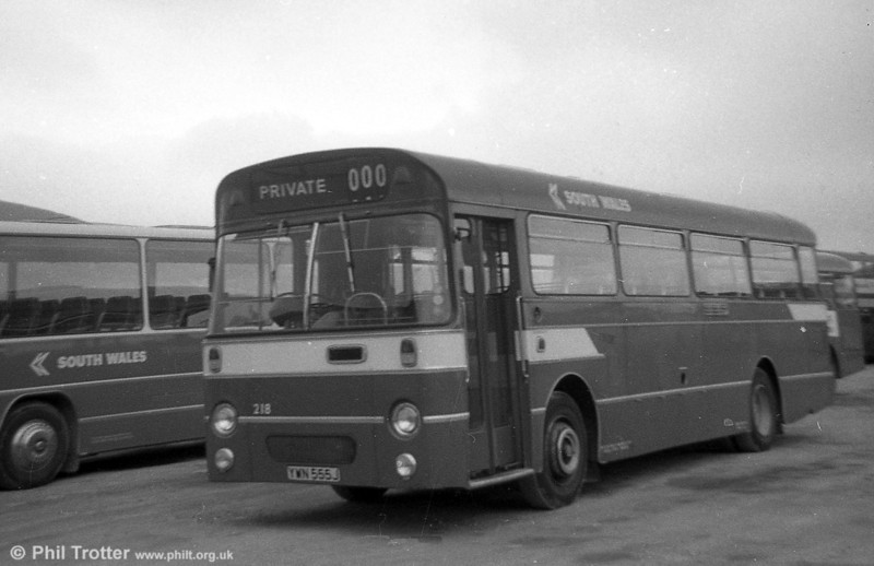 AEC Reliance/Willowbrook B45F 218 (YWN 555J) at Port Talbot.