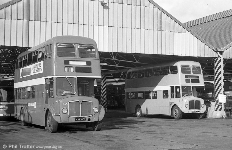 1964 AEC Regent V/Willowbrook H39/32F 855 (ex-605) (438 HCY) and driver trainer 564 (999 BCY) at Brunswick St.