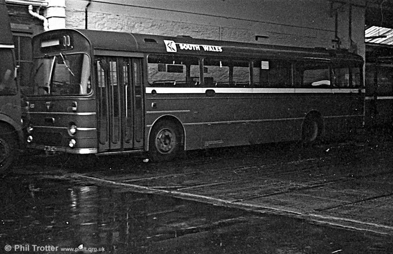 452 (PWN 974G) was a 1969 AEC Reliance 6MU2R with a Marshall B52F body at Llanelli.