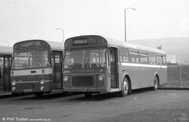 505 (HTG 181D), one of three Leyland Panther Cubs / Strachans B47F, ex-Thomas Bros., Port Talbot.