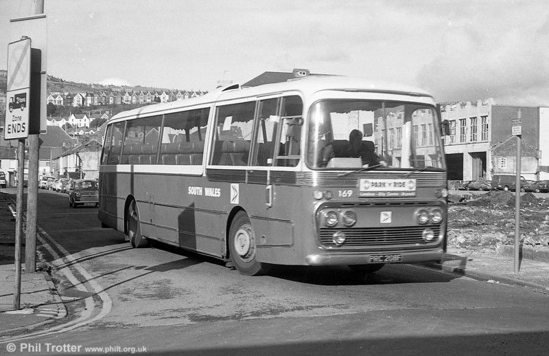 169 (PRC 208F) a 1968 Leyland Leopard/Plaxton DP47F purchased for Swansea Park & Ride services.