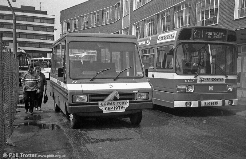 Bedford CF/Reebur DP17F 97 (CEP 197V) at Cardiff Bus Station. The 'Gower Pony' (Oystermouth – Bishopston) service was withdrawn early in 1983.