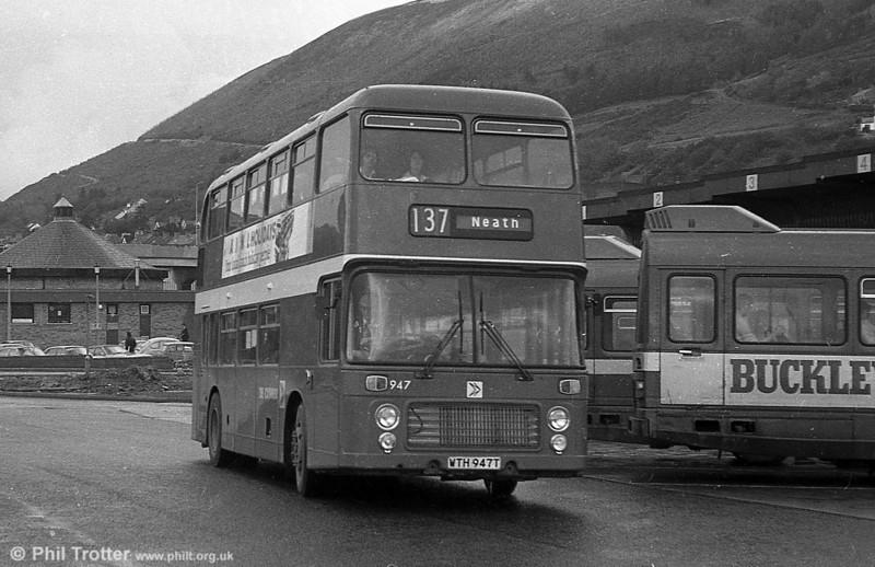Bristol VRT SL3/ECW H43/31F 947 (WTH 947T) at Port Talbot.