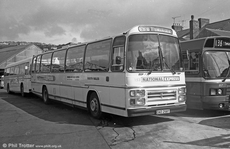 153 (DAD 258T), a Leyland Leopard PSU5C/4R Plaxton C57F. In addition to this, a full list of the vehicles transferred from National Tavel (South West) on May 3rd 1981 was (with SWT fleet numbers):<br /> <br /> 147/8 (SDD 142/5R) Leyland Leopard PSU3E/4R Plaxton C53F.<br /> 149/50 (WFH 173/5S) Leyland Leopard PSU3E/4R Plaxton C53F.<br /> 151 (AFH 182T) Leyland Leopard PSU5C/4R Plaxton C53F.<br /> 152 (XDG 215S) Leyland Leopard PSU5C/4R Plaxton C55F.<br /> 154 (DDG 266T) Leyland Leopard PSU5C/4R Plaxton C57F.<br /> 155-8 (KAD 344/9/51/6V) Leyland Leopard PSU5C/4R Plaxton C57F.<br /> 186 (YDF 327K) Leyland Leopard PSU3B/4R Plaxton C47F.<br /> 187 (FDF 342L) Leyland Leopard PSU3B/4 Duple C49F.<br /> 188 (LHU 661L) Leyland Leopard PSU3B/4 Plaxton C47F.<br /> 189 (RHY 763M) Leyland Leopard PSU3B/4R Plaxton C47F.<br /> 190 (PDD 108M) Leyland Leopard  PSU3B/4R Duple C47F.<br /> 191 (MDF 117P) Leyland Leopard PSU3C/4 Duple C47F.<br /> 192 (WFH 163S) Leyland Leopard PSU3E/4R Duple C51F.<br /> 193/4 (AFH 191/2T) Leyland Leopard PSU5C/4R Duple C50F.<br /> 195 (GDF 281V) Leyland Leopard PSU5C/4 Duple C50F.<br /> 196 (JDG 287V) Leyland Leopard PSU5C/4 Duple C50F.