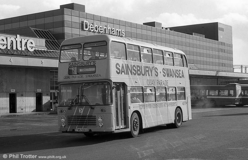 Bristol VRT SL3/ECW H43/31F 936 (TWN 936S) in Sainsbury's livery at Swansea.