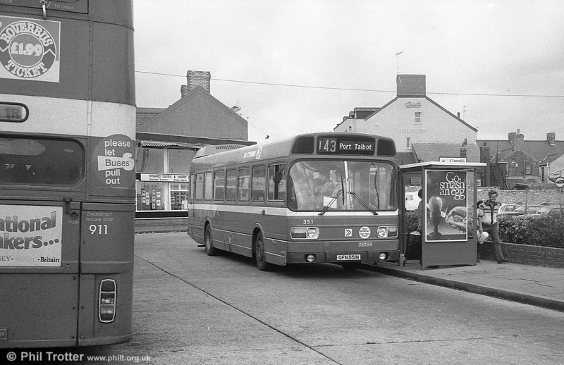 351 (GFN 551N), a Leyland National/B41F acquired from East Kent in 1982, seen at Gorseinon.