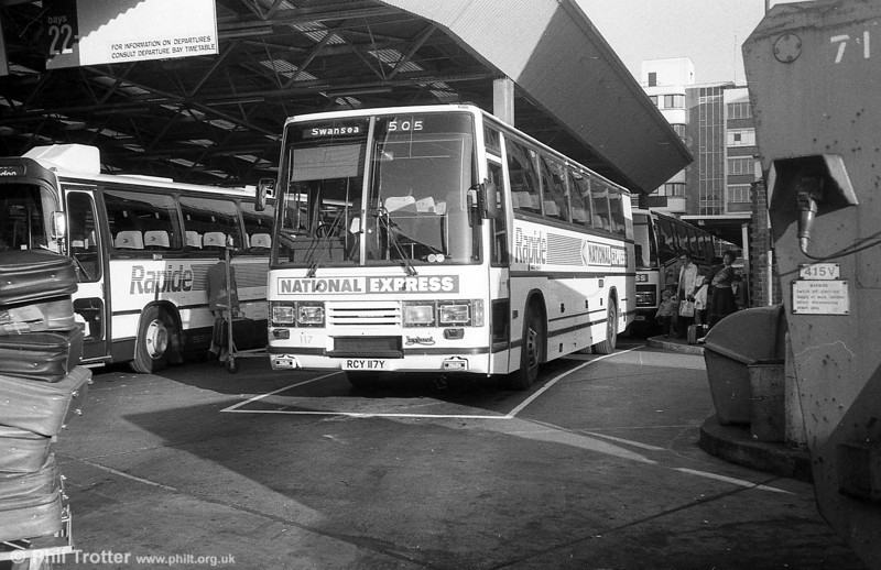 117 (RCY 117Y), a 1983 Leyland Tiger/Duple Caribbean C46FT at Victoria Coach Station.<br /> 'Rapide' services between South wales and London had begun in May 1982, initially using MAN SR280s hired from  Trathens (Yelverton). The service featured on-board films, catering and fast journey times which at one point rivalled those of travel by rail. The first 'Caribbean' coaches were introduced in May 1983.