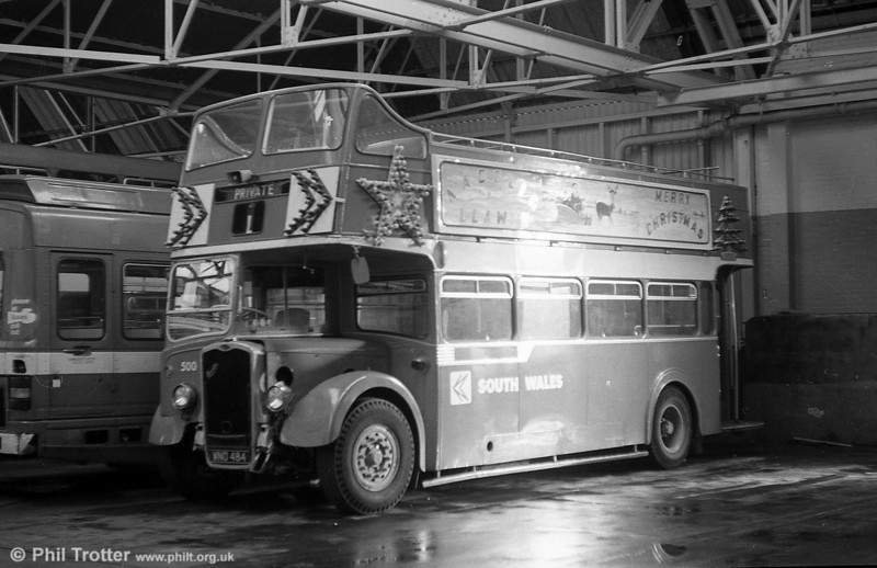 1953 Bristol KSW5G/ECW O33/28R 500 (WNO 484) at Ravenhill kitted out for its winter role as a 'Santabus'.