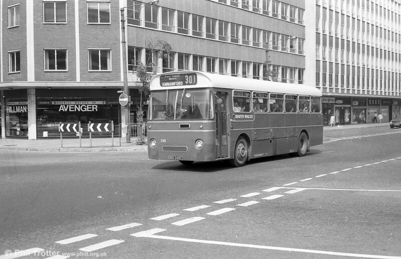 346 (DBO 335C), a Leyland Tiger Cub / Park Royal DP41F , ex-Western Welsh setting out from Cardiff  on the long route to Ammanford on 28th July 1973.