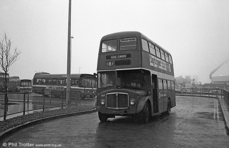 AEC Regent V/Willowbrook H37/27F 889 (GWN 867E) at Swansea during the final tour of February 27th 1982.
