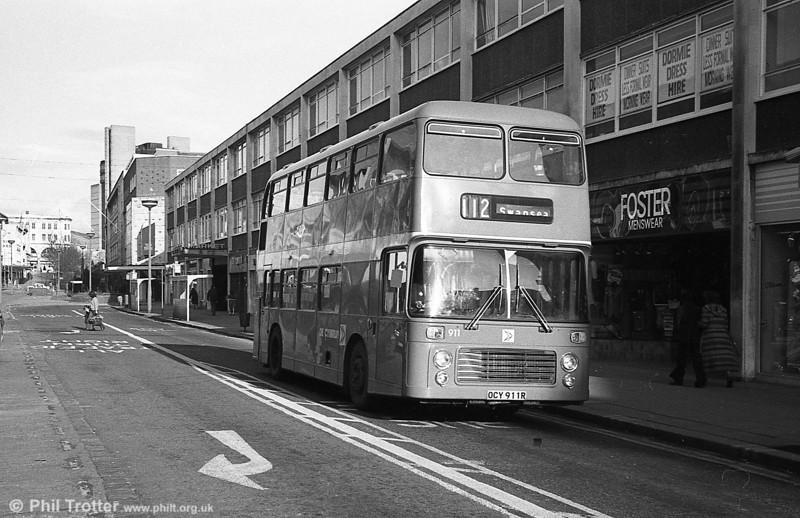 Bristol VRT/ECW H43/31F 911 (OCY 911R) at Swansea.