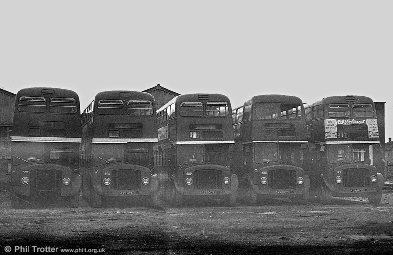 Left to right: Withdrawn AEC Regent Vs 599, 596, 589, 885 and 595 await their fate at Port Talbot.