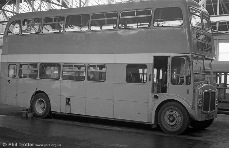 AEC Regent V 564 (999 BCY) a 1962 2D3RA model with Willowbrook H39/32F body, converted for use as a training vehicle. Note the additional instructor's seat positioned in the stairwell.