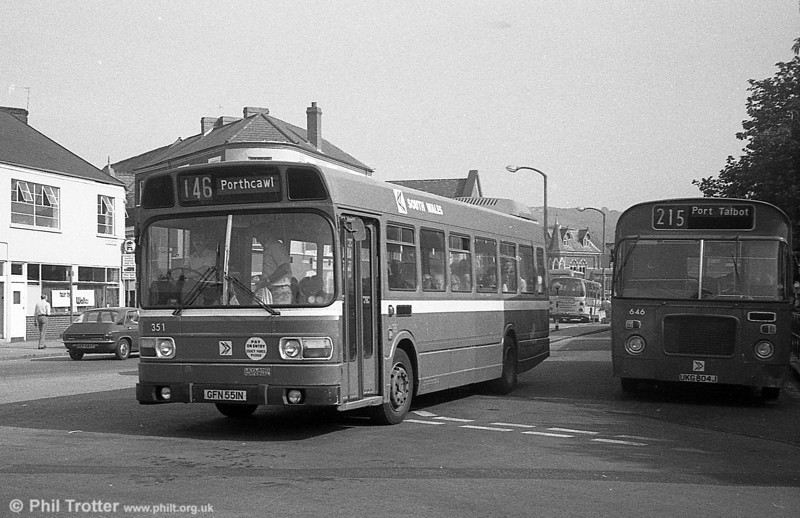 351 (GFN 551N), a Leyland National/B41F acquired from East Kent in 1982, seen at Neath.