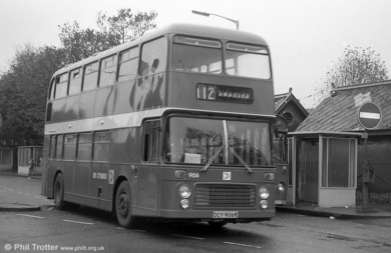 Bristol VRT 906 (OCY 906R) in original condition at Llanelli. 906 was gutted by fire on 29th April 1980 and subsequently rebodied.