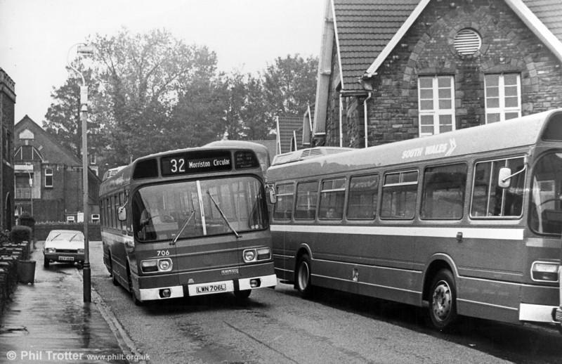 706 (LWN 706L), a Leyland National B52F seen at Morriston.