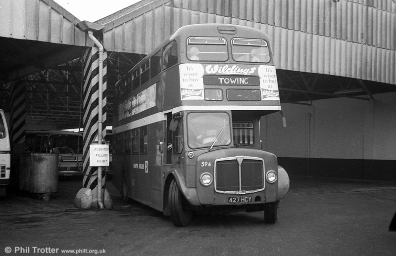 1964 AEC Regent V/Weymann H39/32F 594 (427 HCY) in use as a towing vehicle at Brunswick St. depot.