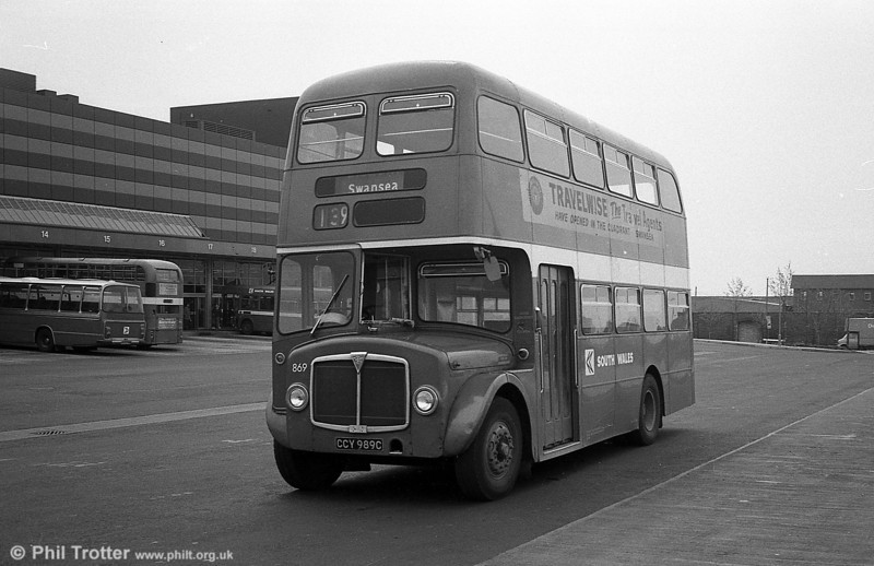 AEC Regent V/Willowbrook H37/27F 869 (CCY 989C) at Swansea.