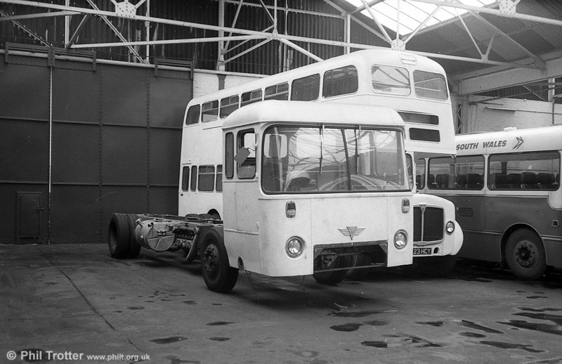 After withdrawal in 1981, AEC Reliance/Willowbrook B53F 441 (NCY 293G) had its body removed at Ravenhill and was partly rebuilt as an unidentified non-PSV. The project was never completed.
