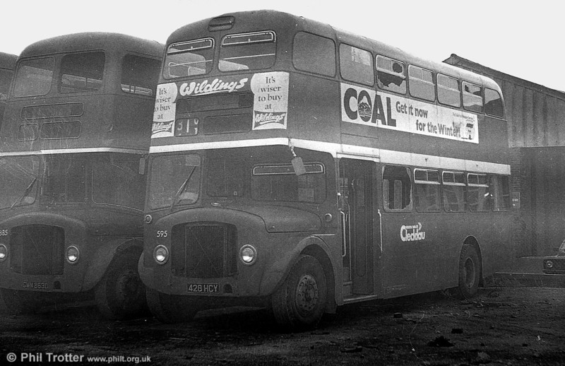 1964 AEC Regent V/Weymann H39/32F 595 (428 HCY) after withdrawal at Port Talbot. Bought my school uniform from Wildings...