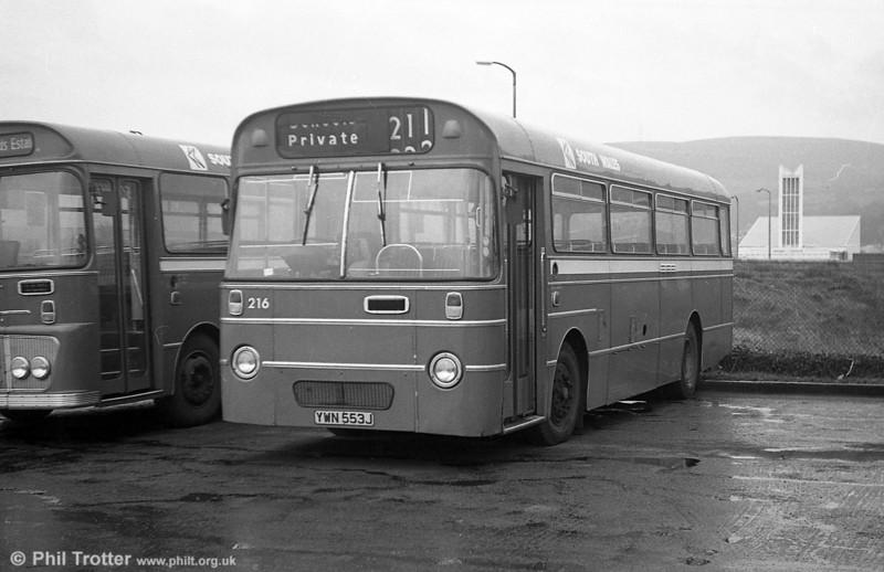 AEC Reliance/Willowbrook B45F 216 (YWN 553J) at Port Talbot.