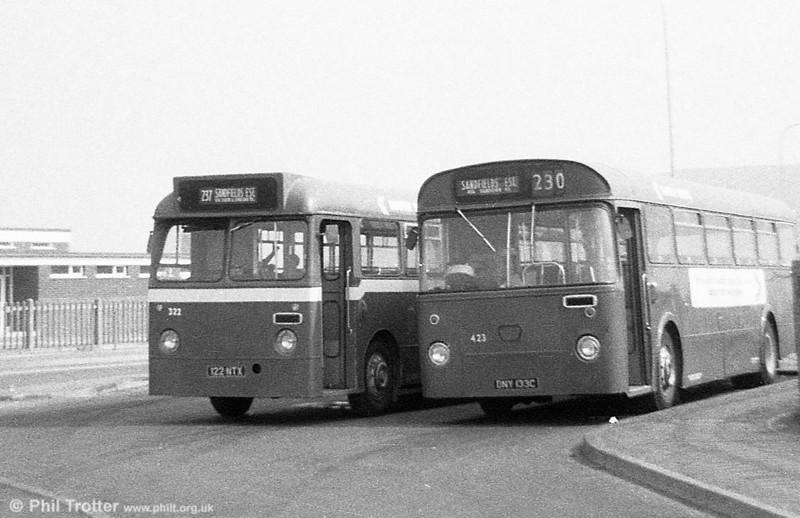 322 (123 NTX) a Leyland Tiger Cub/Alexander B45F and 423 (DNY 133C), an AEC Reliance/Weymann B53F, both ex-Thomas Bros at Port Talbot.