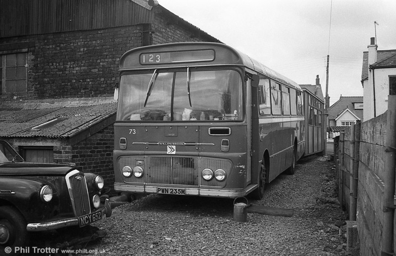 After the closure of Ammanford depot in January 1980, vehicles were outstationed at the premises of West Wales Motors, Tycroes, where former Ford R1014/Willowbrook B45F 235 (PWN 235M), now numbered 73, served as a crew mess/booking on point.