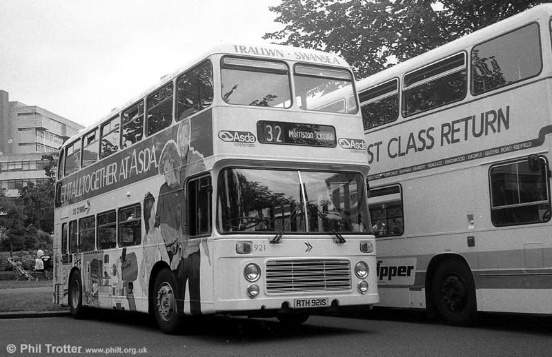 Bristol VRT SL3/ECW H43/31F 921 (RTH 921S) in ASDA livery at Cardiff.