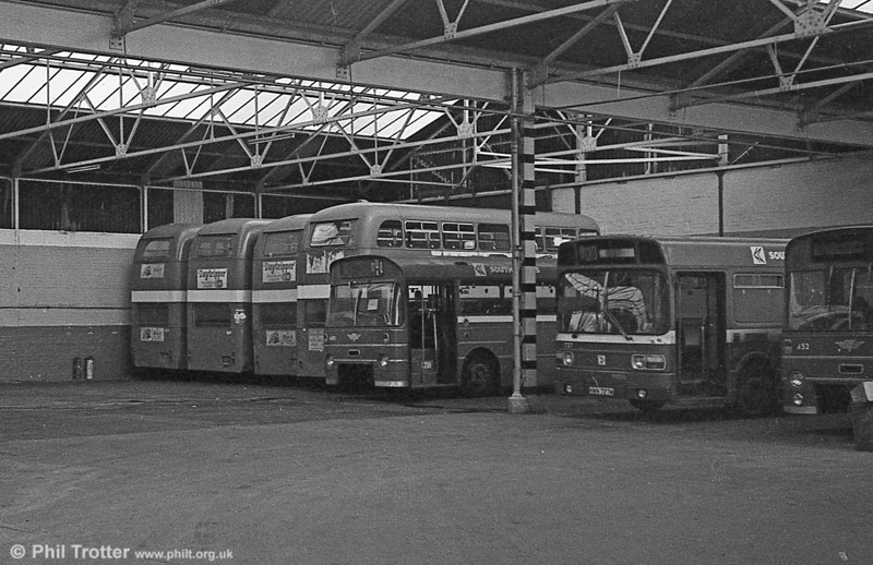 After the end: The remaining AEC Regent Vs were stored at Gowerton in 1982.
