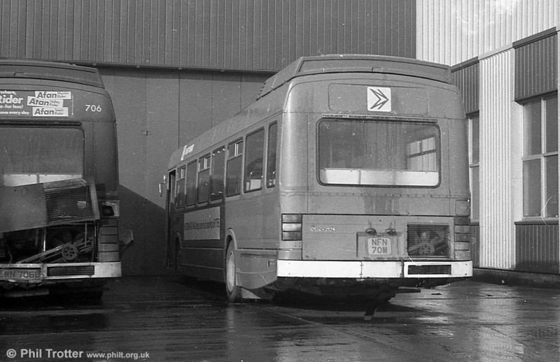Ex-East Kent Leyland National B52F 1070 (NFN 66M),  at Ravenhill. This was to become SWT 824.