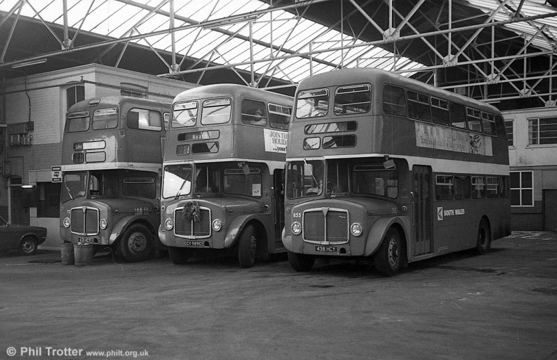 AEC Regent V/Willowbrook H37/27F 869 (CCY 989C) with 598 and 855 at Gorseinon during the farewell tour of December 19th 1981.
