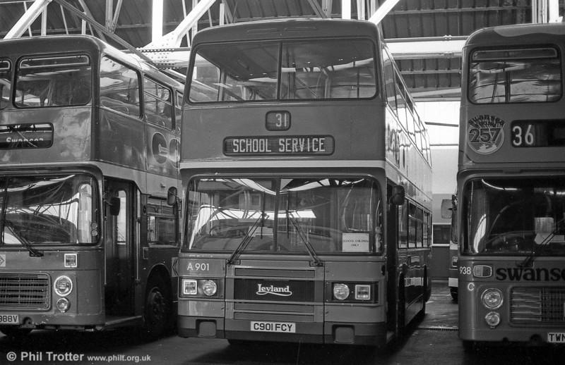 901 (C901 FCY) a 1985 Leyland Olympian/ECW H45/30F at Ravenhill.