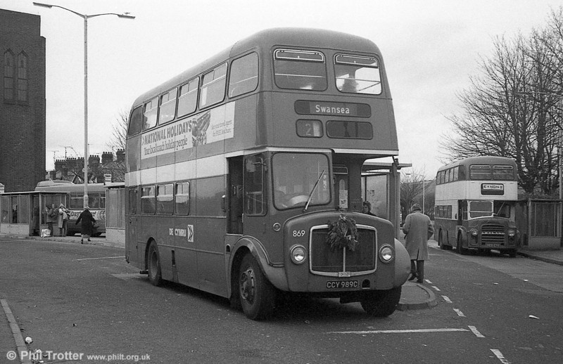 AEC Regent V/Willowbrook H37/27F 869 (CCY 989C) at Llanelli during the farewell tour of December 19th 1981.