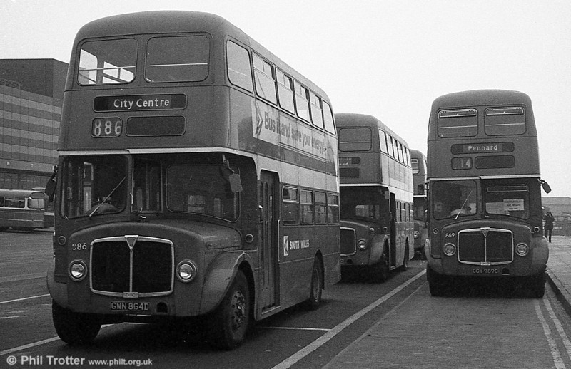 AEC Regent V/Willowbrook H37/27F 886 (GWN 864D) at Swansea during the final tour of February 27th 1982.