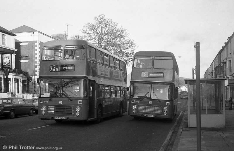 Bristol VRT/ECW H43/31F 906 (OCY 906R) at Swansea.