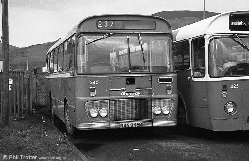 Ford R1014/Willowbrook B45F 246 (RWN 246M) at Port Talbot.
