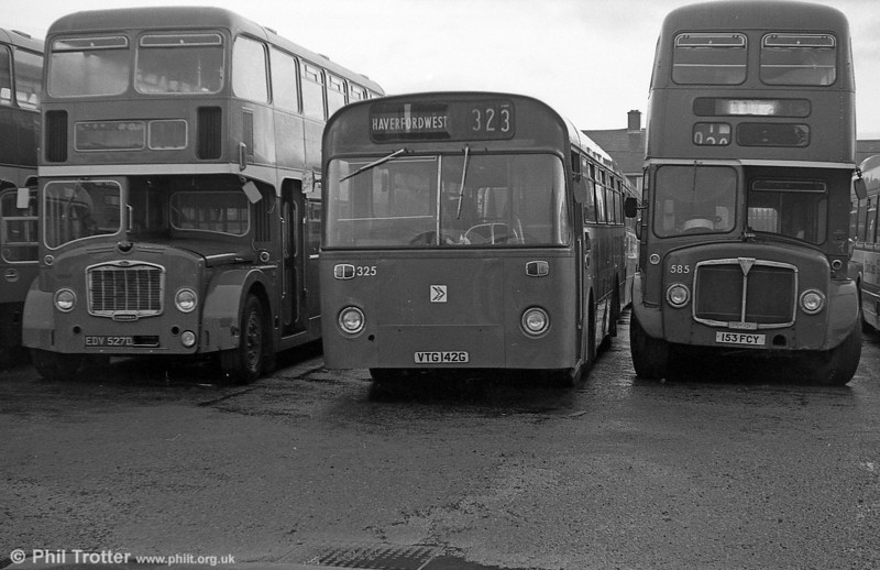Leyland Leopard PSUC1/Marshall B45F 325 (VTG 142G) ex-Thomas Bros., seen at Ravenhill.