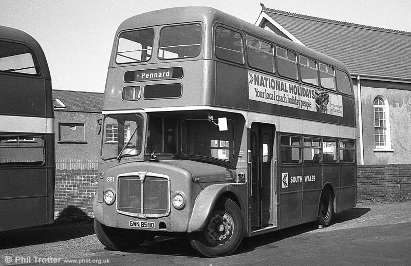 AEC Regent V/Willowbrook H37/27F 881 (GWN 859D) at Gorseinon.