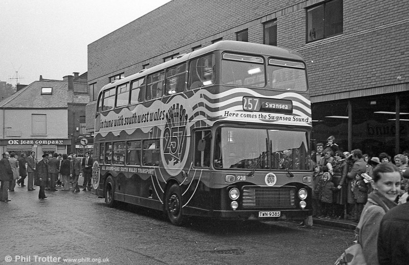 Bristol VRT 938 at its Swansea Sound launch event on March 7th 1981. The vehicle was fitted with a Radiomobile system so that passengers could hear programmes.