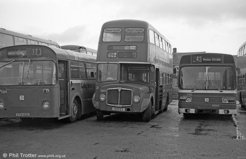 AEC Regent V/Willowbrook H39/32F 585 (153 FCY) at Ravenhill.