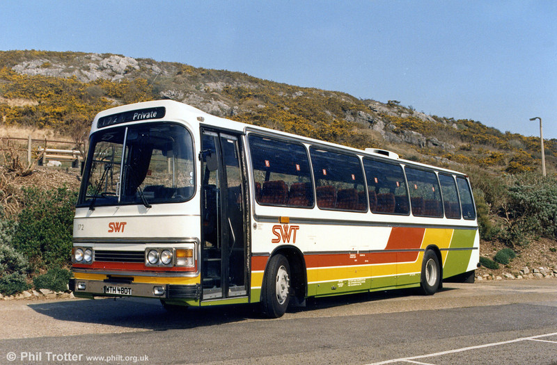 Showing off its new livery is 172 (WTH 480T), a Leyland Leopard/Duple C48F.