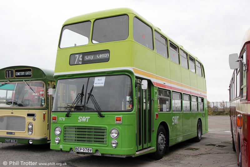 Bristol VRT 978 (BEP 978V) a BristolVRT/SL3 with ECW H43/31F, seen in after restoration at Swansea Bus Museum on 26th October 2014.