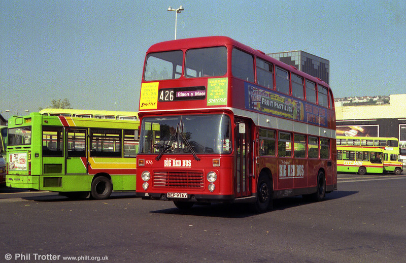 'Big Red Bus' was a short-lived low-cost operation for the less affluent areas of Swansea. 976 (BEP 976V) carries the livery at the Quadrant Bus Station.