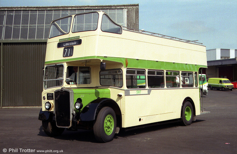 1953-built Bristol KSW5G/ECW O32/28R 500 (WNO 484) seen at Ravenhill shortly after a repaint into an approximation of its former Eastern National livery.