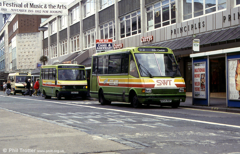 When the Sketty area services were converted to minibus operation in 1987, 25 MCW 'Metrorider' vehicles were purchased. 254 (E254 REP) was photographed in Oxford Street, Swansea but had migrated to the city's East Side services on this occasion.