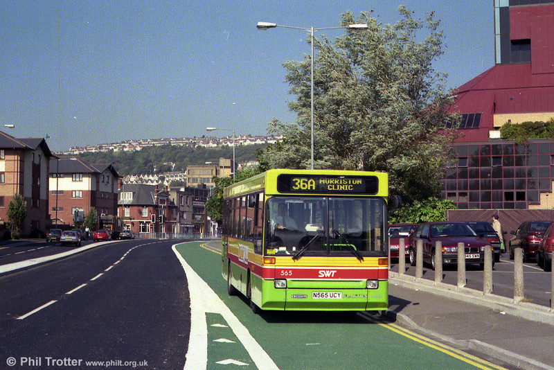 Making good use of a newly installed bus lane at West Way, Swansea is 565 (N565 UCY).