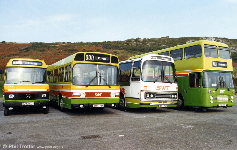 The new look for the SWT fleet taken in 1986. The vehicles are (left to right): Mercedes L608D 242, Leyland National 773, Leyland Leopard 168 and Bristol VRT 996.