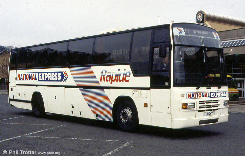 101 (J1 SWT) a 1991 Volvo B10M/Plaxton C46Ft for National Express services.