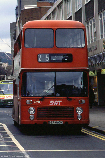 Bristol VRT SL3/ECW H43/31F 963 (BEP 963V) in NBC red but with new post-privatisation fleetnames.